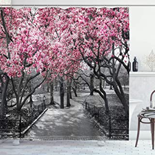 Ambesonne NYC Decor Collection, Blossoms In Central Park Cherry Bloom Trees Forest Spring Springtime Landscape Picture, Polyester Fabric Bathroom Shower Curtain, 75 Inches Long, Pink Gray