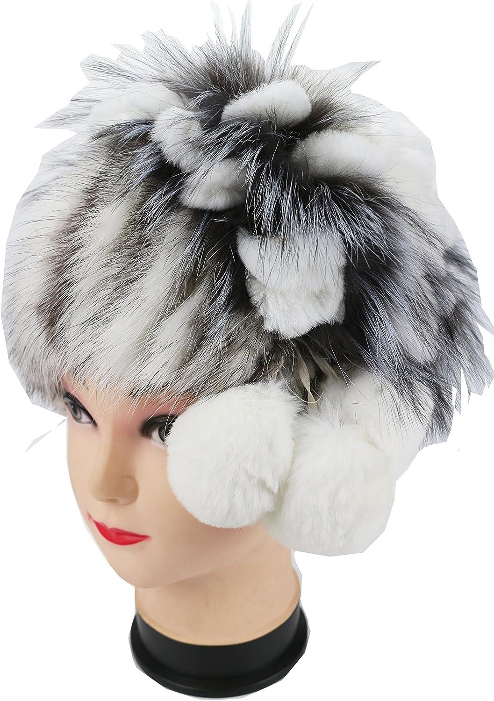 Ysting Natural Knit Mink Fur Hat Fashion Rex Rabbit Fur Flower Cap Real Fur Beanie
