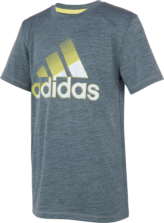 adidas Boys' Short Sleeve Aeroready Sliced Badge of Sport Tee