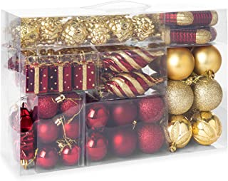 Best Choice Products Set of 72 Handcrafted Shatterproof Hanging Christmas Ornaments w/Glitter Design - Maroon/Gold