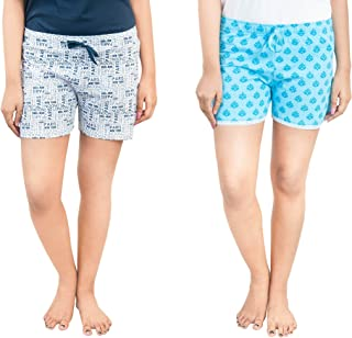 Club A9 Women's Cotton Printed Regular Shorts - Pack of 2 (White & Teal Blue)
