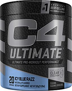 C4 Ultimate Pre Workout Powder ICY Blue Razz | Sugar Free Preworkout Energy Supplement for Men & Women | 300mg Caffeine + 3.2g Beta Alanine + 2 Patented Creatines | 20 Servings