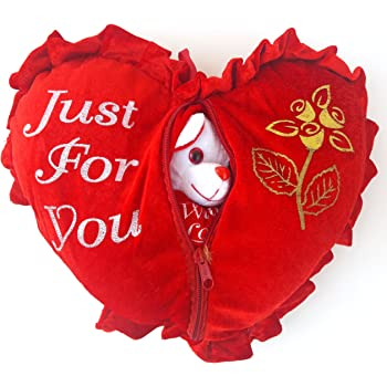 Urvi Creations Romantic Valentine Gift Heart Love Teddy Pillow Cushion For Valentine Gifts For Boyfriend Girlfriend Amazon In Toys Games