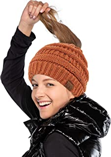 Hatsandscarf C.C Exclusives Ribbed Confetti Knit Messy Bun Beanie Tail Hat