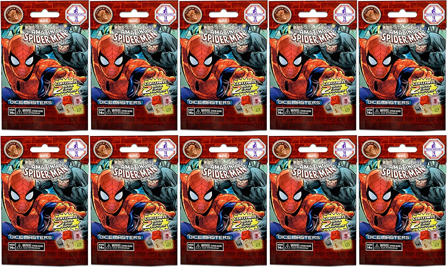 10 (Ten) Boosters Packs of Marvel Dice Masters  The Amazing SpiderMan Dice Building Game (10 Random Foil Packs)