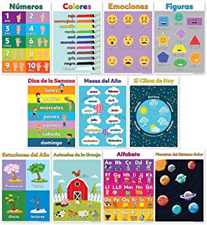 11 Spanish Classroom Decorations - Spanish Posters for Classrooms Include ABC/Alphabet Poster (Alfabeto/Abecedario), Solar System, Shapes Colors Letters & Numbers (Non Laminated)13X18