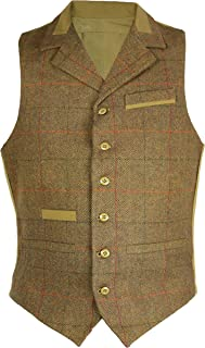Carabou Mens Classic Wool Blended Tweed Waistcoat with Lapel Collar Styling Herringbone Check Pattern S-3XL 4 Front Pocket...
