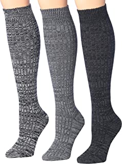 Women's 3 Pairs Ragg Marled Ribbed Mid-Calf High Wool-Blend Boot Socks