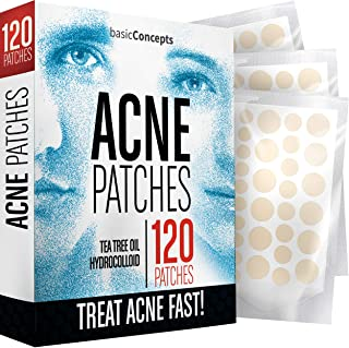 Acne Patches (120 Pack), Tea Tree Oil and Hydrocolloid Pimple Patches for Face, Zit Patch (3 Sizes), Blemish Patches, Acne...