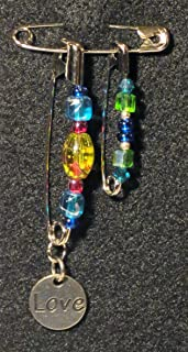 Solidarity Safety Pin 03: Handmade Art Safety Pin Jewelry - Lampwork Glass Bead Crystal