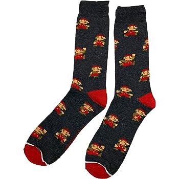 Super Mario Bros Mario 8 Bit Crew Sock Pair Grey
