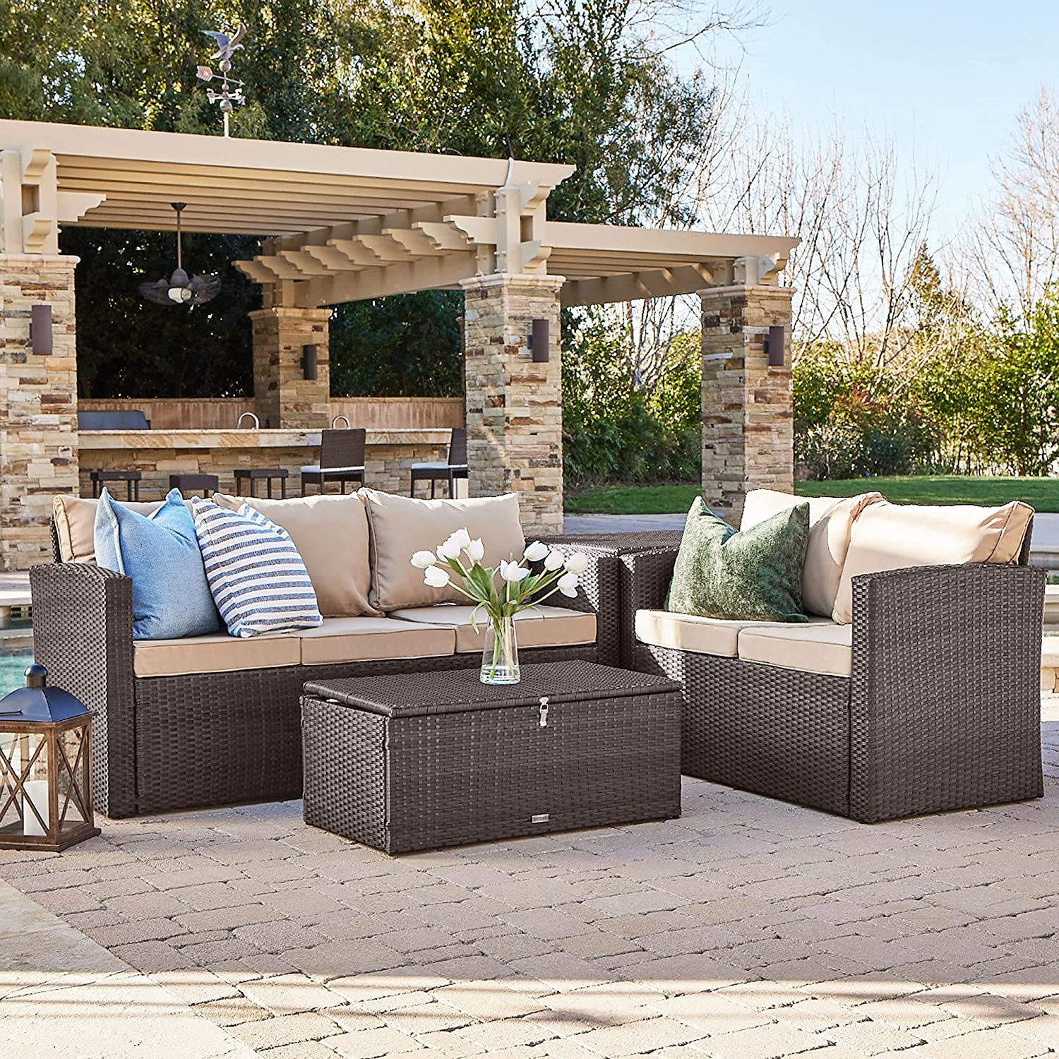 BELLEZE Outdoor online shopping 4PC Patio Wicker Set Deep Sectional Max 78% OFF Sofa Seating