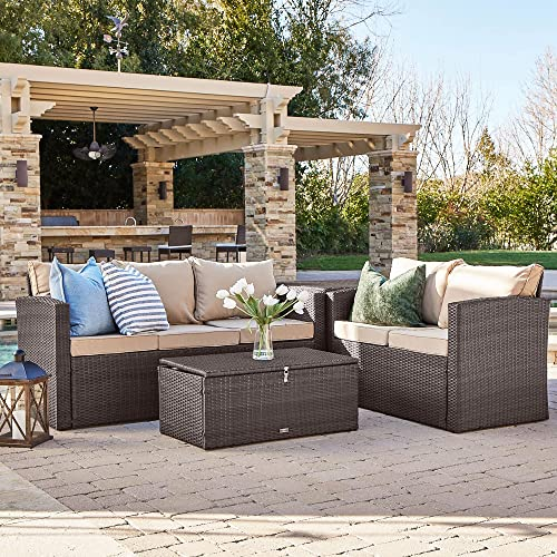 new arrival BELLEZE Outdoor 4PC outlet online sale Patio Wicker Sofa Set outlet sale Sectional Deep Seating Seat Cushions w/Storage Ottomans, Brown sale