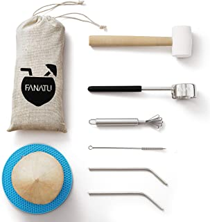 Coconut Opener Set for Young Coconut - Coconut Opener Kit by FANATU – Premium Food Safe Stainless Steel Coconut Opener Tool & Strong Rubber Hammer - Straw & Brush & Silicone Mat - ALL IN ONE Carry Bag