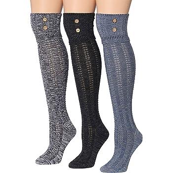 Tipi Toe Women's 3-Pairs Winter Warm Knee High Cotton-Blend Boot Socks