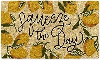"DII Natural Coir Doormat, Fun Greeting Mat, Squeeze The Day, 18x30"""