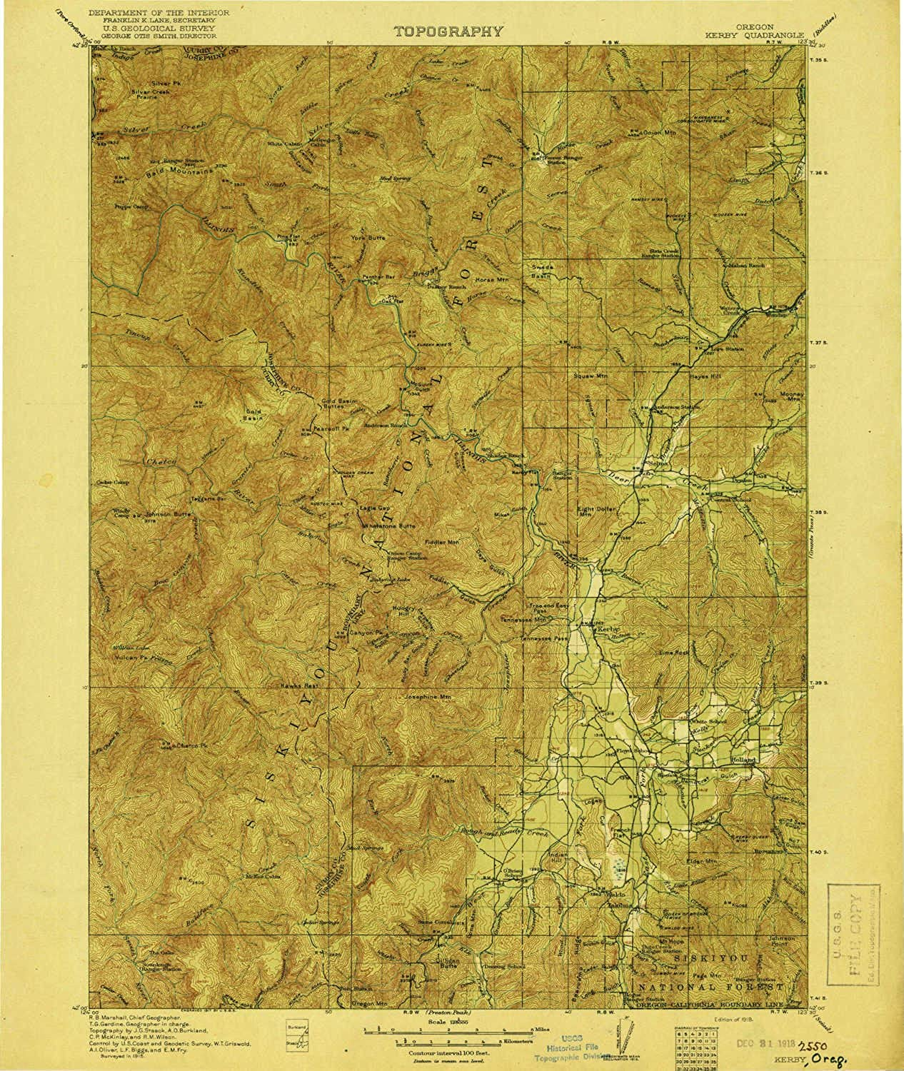 Kerby OR topo map, 1 125000 Scale, 30 X 30 Minute, Historical, 1918, Updated 1918, 19.5 x 16.4 in