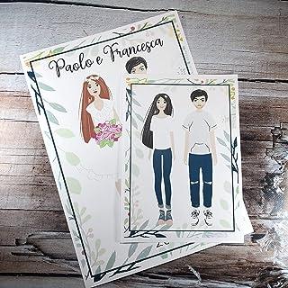 Ritratto caricaturale stilizzato di coppia personalizzato, stampa o file digitale, idea regalo, quadretto, partecipazione ...