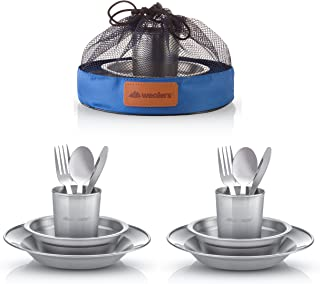 Unique Complete Messware Kit Polished Stainless Steel Dishes Set| Tableware| Dinnerware| Camping| Includes - Cups | Plate...