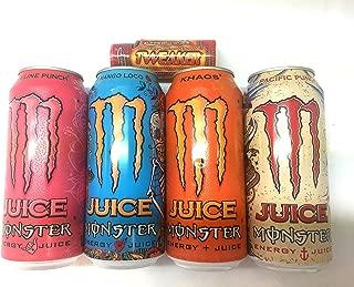 Monster Energy Juice Variety - Pipeline Punch, Khaos, Mango Loco, Pacific Punch 16fl.oz (Pack of 8) + Tweaker Energy Shot Strawberry Lemonade