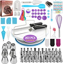 174 PCs Cake Decorating Supplies Kit for Beginners-1 Turntable Stand- Cake Server & Knife set-48 Numbered Easy to use Icin...