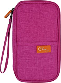 P.travel Waterproof Travel Passport Women's Wallet and Credit Card Holder Ticket Document Bag Small Clutch with Zippered Pockets Carry Money, Tickets, Documents Includes Smartphone Pocket (Pink)