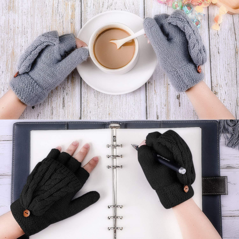 4 Pairs Women Fingerless Mittens Winter Convertible Gloves Knitted Half Finger Gloves