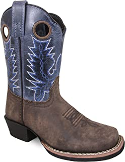 Smoky Mountain Youths' Mesa Square Toe Pull On Brown Oil Distressed/Navy Crackle Boots