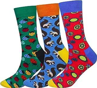 Men's 5 Packs Fun Crazy Animal Cotton Casual Crew Socks