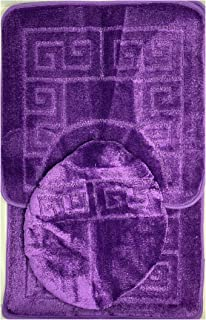 "Bathroom Rugs Sets 3 Piece Bath Pattern Rug Set (20""x32"")/Large Contour Mats (20""x20"") with Lid Cover (Purple)"