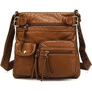 Multi Pocket Crossbody Bag for Women, Ultra Soft Washed Vegan Leather Shoulder Purse, H1833