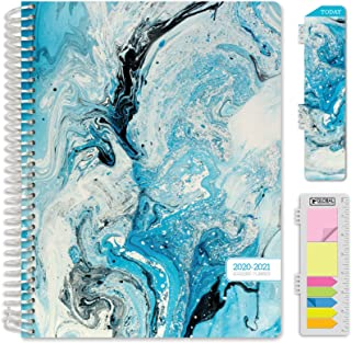 """HARDCOVER Academic Year 2020-2021 Planner: (June 2020 Through July 2021) 8.5""""x11"""" Daily Weekly Monthly Planner Yearly Agenda. Bonus Bookmark, Pocket Folder and Sticky Note Set (Blue Marble)"""