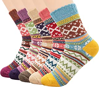 Athletic Sports Knit Pattern Womens Winter Socks Crew Cut Cashmere Retro Thick Warm Soft Wool Socks
