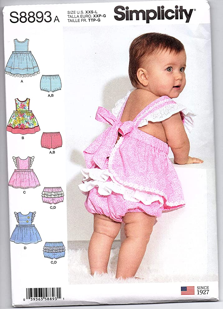 Simplicity Sewing Pattern S8893A - Use to Make - 4 Designs of Babies' Pinafores and Panties with Fabric and Trim Variations