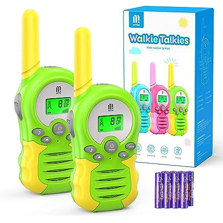 MTM Walkie Talkies Kinder mit Batterien, 2xFunkgerät 8 Kanäle 10 Klingeltöne VOX Funktion mit Hintergrundbeleuchteter LCD, 3KM Reichweite Walkie Talkies für Freien, Camping, Wandern (Grün)