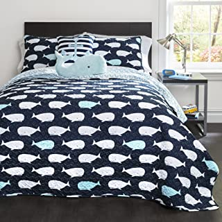 Lush Decor Whale Kids Reversible 4 Piece Quilt Bedding Set with Sham and Decorative Throw Pillows, Twin, Navy