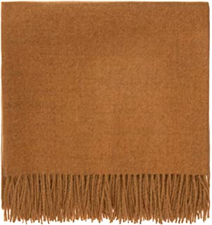 URBANARA 100% Peruvian Baby Alpaca Wool Blanket Arica 51x73 Mustard — Simple Block Color with an Elegant Fringe — Throw for Sofa, Couch, Bed, Chair — as Soft as Cashmere