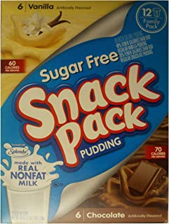 Snack Pack Sugar-Free Pudding Chocolate & Vanilla Family Pack, 12Count, 39 Oz