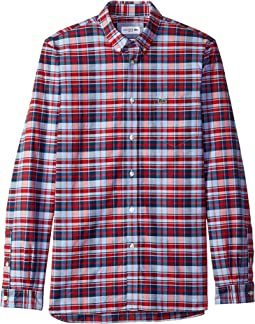 Long Sleeve Slim Fit Oxford Stretch Check Button Down