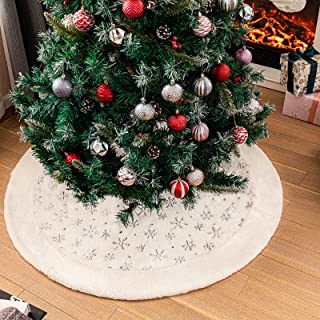 Amidaky Christmas Tree Skirt 48 inch White Faux Fur with Sparkly Silver Snowflake Sequin for Thanksgiving Holiday Decorati...
