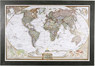 Push Pin Travel Maps Personalized Executive World with Rustic Black Frame and Pins - 27.5 inches x 39.5 inches