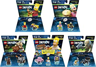 The Simpsons Homer + Bart + Krusty + The Lord Of The Rings Gimli + Gollum Fun Packs - Lego Dimensions (Non Machine Specific)