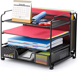 $22 » Simple Trending 4-Trays Mesh Office Supplies Desk Organizer, Desktop File Holder with Drawer Organizer and Vertical Upright Section for Office Home, Black