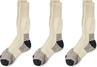 Rio Men's Reinforced Cushion Comfort Work Socks (3 Pack), Taupe, 6-10