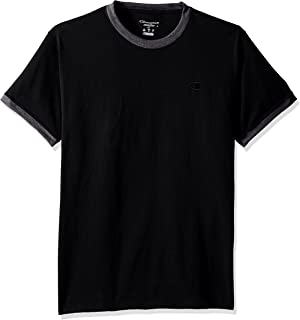 Champion Men's Classic Jersey Ringer Tee, Black/Granite Heather, L