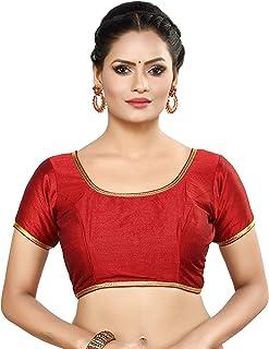 MADHU FASHION Women's Poly Raw Silk Stitched Readymade Saree Blouse