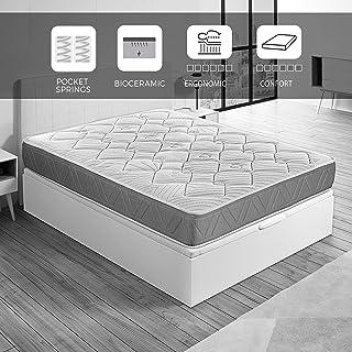 ROYAL SLEEP Colchón de muelles ensacados y viscocarbono con Hilo biocerámico, Confort Alto, firmeza Media-Alta 150x190, Ceramic Pocket