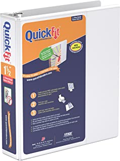 QuickFit 8.5 x 5.5 Inch Heavy Duty Junior View Binder, 1.5 Inch, Round Ring, White (85120)