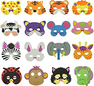16 Counts Cute Cartoon Zoo Animal Face Masks for Kids Dress-Up Costume