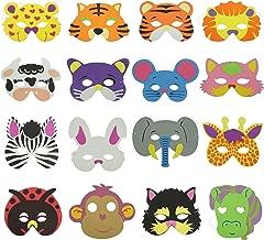 Bilipala 16 Counts Cute Cartoon Zoo Animal Face Masks for Kids Dress-Up Costume